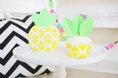 DIY Pineapple Cupcake Wrappers & Toppers  Set of by DesignSprinkle