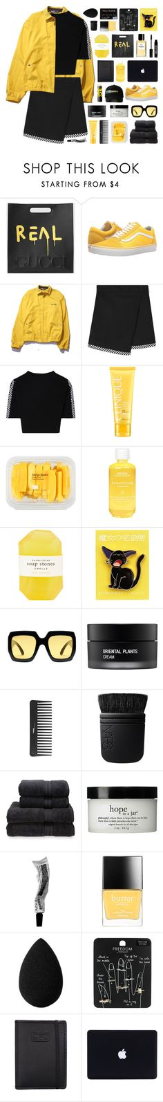 """""""17:28"""" by svga-kookie ❤ liked on Polyvore featuring Gucci, Vans, Polo Ralph Lauren, Clinique, MANGO, Maybelline, Aveda, Pelle, Ghibli and Koh Gen Do"""