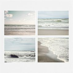 Beach Decor Print Set of 4 Landscape Photographs, Ocean Decor, 5x7 8x10 11x14, Beach Pictures, Pale blue, tan, taupe, neutral beach art.