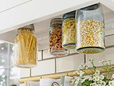 DIY Hanging Kitchen Storage Containers using Large Mason Jars