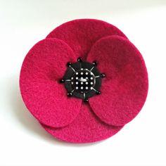 Poppy Corsage - Retro Style Felt Poppy Brooch Pin in Hot Pink £8.00
