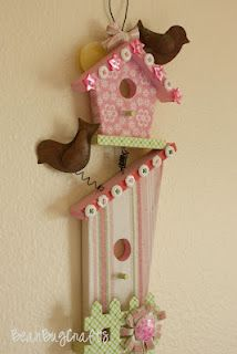 Girls Hair Bow Holder - DIY Birdhouse Hairbow Holder - Bean Bug Crafts