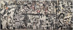sabra and shatila   Ink and wax crayon on paper mounted on canvas. 300 x 750 cm.