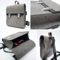 NIEUW - NEW - NIEUW Rugtas klein, vilt met leer! http://www.bouwjaar63.nl/webshop/rugtassen/rugtas-klein-basic/ Backpack small, felt with leather! http://www.bouwjaar63.nl/en/webshop/backpacks/backpack-small-basic/