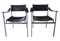 Fabulous Pair Of High Quality 1970s Italian Black Leather And Chrome Director S Chairs In