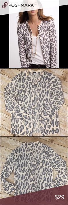 J.Crew Merino Ocelot Cardigan 😍 J.Crew Merino Ocelot Cardigan 😍 in great condition super Cute pair with some slacks for the office or a cute pair of jeans! Size small J. Crew Sweaters Cardigans
