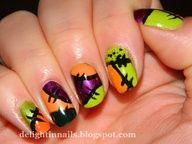 easy Halloween stitches patchwork nail art design