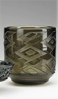 DAUM Two acid-etched smoky glass vessels, Nancy, 1920s; Each etched DAUM NANCY FRANCE