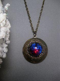 Dusty Arizona Dragons Breath Fire Opal Locket Necklace