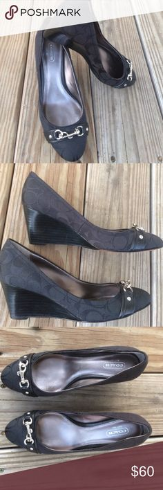 """Coach Hester Wedge Pump Gorgeous wedge, in a timeless style. Great condition. 2.5"""" heel, with silver hardware. To ensure you item arrived as photograph; I film the packaging from start to finish. Happy Poshing 😀 Coach Shoes Wedges"""