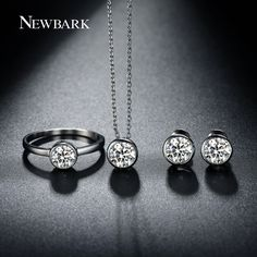 jewelry sets for women Picture - More Detailed Picture about NEWBARK Jewelry Set For Women With Classic Ring And Small Cute Stud Earrings & White Gold Plated CZ Stone Chain Pendant Necklace Picture in Jewelry Sets from Newbark Official Store Classic Wedding Jewellery, Wedding Jewelry, Cute Stud Earrings, Women's Earrings, Jewelry Sets, Women Jewelry, Gold Earrings Designs, Diamond Solitaire Necklace, Chain Pendants