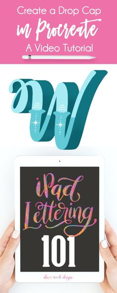 Drop Cap Procreate Video Tutorial - ipad - Ideas of ipad - Drop Cap Procreate Video Tutorial. Get your iPad Pro and Apple Pencil ready! I'm going to show you how to make this wintery W Drop Cap with a deep shadow in a step-by-step video lesson. Dawn Nicole, Drop Cap, Lettering Tutorial, Ipad Art, Brush Lettering, Creative Lettering, Videos, Creations, Graphic Design