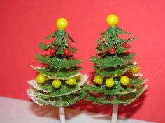 Vintage Christmas Cake Toppers Christmas Trees by TheIDconnection