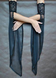 Elegant GOTHIC VAMPIRE costume Victorian Evening gloves Glamour long GLOVES with mistic floune, frill, black tulle, fingerless mittens - Dark Couture - Kurti Sleeves Design, Sleeves Designs For Dresses, Sleeve Designs, Blouse Designs, Gothic Vampire Costume, Vampire Costumes, Stylish Dresses, Fashion Dresses, Costume Venitien