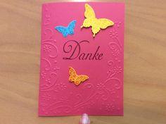 Danke Karte, prägekarte, Schmetterling Stempel und stanze Stampin Up,
