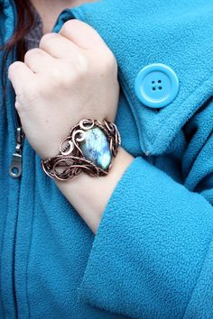 Labradorite Copper bracelet Elegant wire by AnnTitovaDesign
