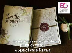 Invitación en caja floral, boda elegante tonos otoño - invierno.