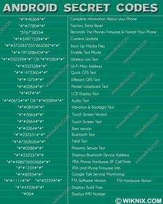 Android Secret Codes: