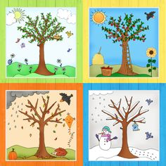 Zum Abschluss der Jahreszeitenbäume gibt es jetzt noch das Komplettpaket mit al. At the end of the season trees, there is now the complete package with all four trees in color and as coloring page, Preschool Decor, Preschool Classroom, Classroom Decor, Toddler Learning Activities, Preschool Activities, Teaching Kids, Bible Crafts For Kids, Art For Kids, Kindergarten Portfolio
