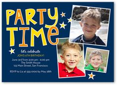 Birthday Invitations: Let's Party, Square Corners, Blue