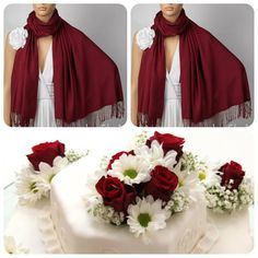Set of Two Burgundy Shawls: Wedding Shawl; Dark Red by LunaShawls on Etsy