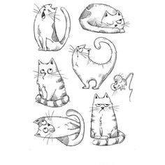 Katzelkraft - Unmounted Rubber Stamp Sheet - Les Chats Russes (Russian Cats) x are unmounted (ONLY the rubber part is included. You will need to mount them on EZ Mount yourself). The stamp sheet is approx. Splat Le Chat, Vogel Illustration, Russian Cat, Tampon Scrapbooking, Cat Cards, Cat Drawing, Digital Stamps, Doodle Art, Animal Drawings