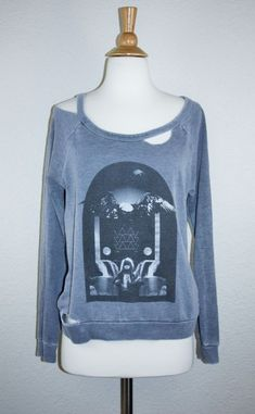 CHASER DECONSTRUCTED SWEATSHIRT XS Gray Raglan Pullover Band Print Destroyed Top #Chaser #Pullover #Any