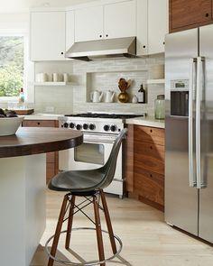 White and Walnut contemporary kitchen