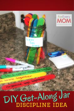 "I have a chore jar like this for ""clutter jail"".  I might need to do some ""get along"" jobs too! :-)"