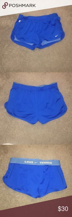 Nike dri-fit workout shorts Gently users and perfect condition. Beautiful cobalt blue color. Lined with spandex shorts. Nike tennis shorts. Great for tennis or just working out Nike Shorts