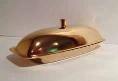 Retro Modern Gold Swedish Design Butter Dish w Starburst Glass Insert on Etsy, $23.25 CAD