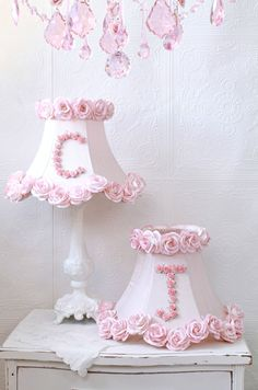 Personalized Monogram Pink Roses Table Lamp - Paint our old lamp bases white use shades, remove fringe and add ribbon or flowers to bottom. Pink Lamp Shade, Lamp Shades, Girl Nursery, Girls Bedroom, Casas Shabby Chic, Vintage Inspiriert, Rosa Rose, Princess Room, Daughters Room