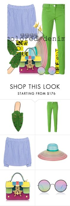 """""""New or different - coloured denim"""" by no-where-girl ❤ liked on Polyvore featuring Charlotte Olympia, Jacob Cohёn, rag & bone, Missoni, Giancarlo Petriglia, Sunday Somewhere and coloredjeans"""