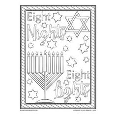 Celebrate Hanukkah with this hand drawn coloring page, the second created by artist Jennifer Stay for this holiday. Light up the season with with this piece of art. Printable Coloring Pages, Adult Coloring Pages, Eight, Beautiful Hands, New Art, Hanukkah, Hand Drawn, How To Draw Hands, Art Pieces