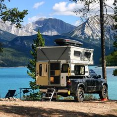van-life: Model: Nick and Laura'sToyota Truck with a Four Wheel Camper Location: Abraham Lake, Alberta (Yesterday) Photo by Matt McAdow: OVRLND. Pop Up Truck Campers, Pickup Camper, Cool Campers, Truck Camping, Camping And Hiking, Camping Life, Camper Van, Pick Up, Truck House