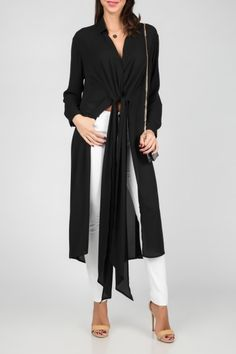ISABEL LONGLINE BLOUSE WITH WAIST TIE