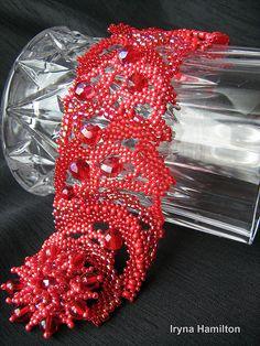 Red passion bracelet by IrynaHamilton, via Flickr #beadwork