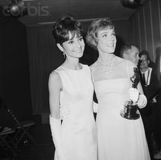 Audrey Hepburn and Julie Andrews 1965. They are both such beautiful, modest, & classy women.