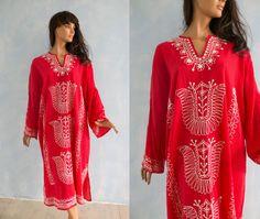Vintage red Kaftan dress / Hippie boho Festival by Sunnylizard