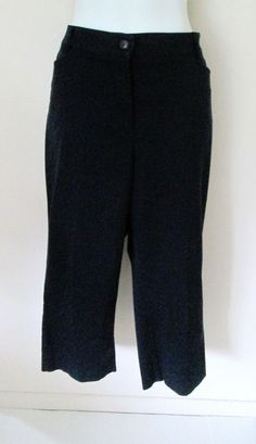 Sag Harbor Size 14 Navy Blue Capris Cropped Pants Flat Front Career Casual #SagHarbor #CaprisCropped