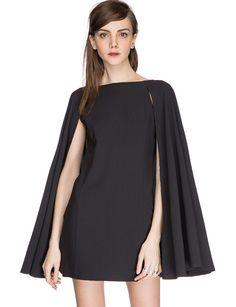 825afc4f3d7 Pixie Market Nadya Little Black Cape Dress in Black Winter Dresses