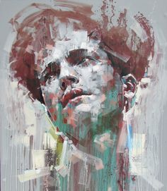 """Tell You My Sins"" - Jimmy Law, acrylic on canvas, 2015 {figurative #expressionist art male head grunge man face portrait painting drips} jimmylaw.co.za"