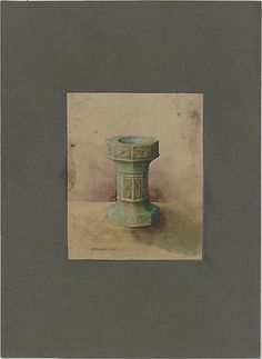 Design for baptismal font,  Louis Comfort Tiffany.  Watercolor and graphite on paper mounted on board.