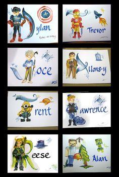 Mini Name Painting by Legendbrush on Etsy