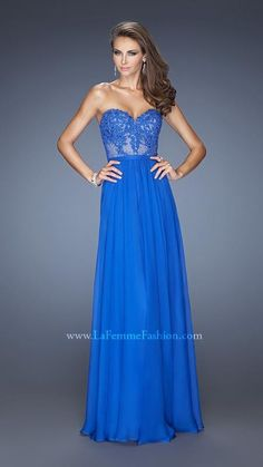 Elegant Royal Strapless Gowns La Femme 20393