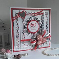 60th Birthday card for a lady whose favourite colour is Red - using dies from Creative Expressions / Sue Wilson Nobel Pierced Squares and Circles Swiss Collection, Background New Zealand, Hamilton Delicate Fronds also using a Memory Box, Heart Swoosh.