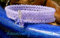 Lilac colored TOHO Peanut beads on memory by iRescueJewelryDesign, $15.00