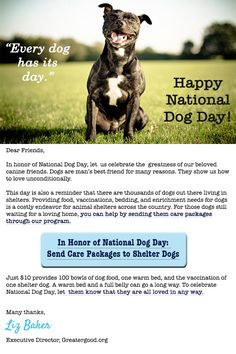In Honor of National Dog Day, let us remember all the dogs still waiting for their forever homes in shelters. For as low as $10, you send care packages to shelter dogs.