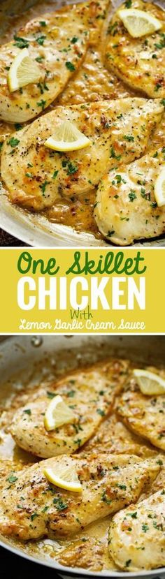 One Skillet Chicken topped with A Lemon garlic Cream Sauce - Ready in 30 minutes. CLICK Image for full details One Skillet Chicken topped with A Lemon garlic Cream Sauce - Ready in 30 minutes are perfect over a bed of a. Turkey Recipes, New Recipes, Cooking Recipes, Recipes With Lemon, Paleo Recipes, Yummy Recipes, Heavy Cream Recipes, Epicure Recipes, Zoodle Recipes