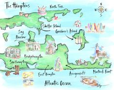 Hamptons Map - a NYC summer escape. Painted by illustrator Jennifer Lilya